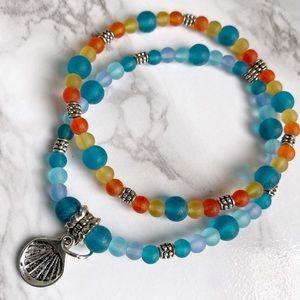 🎉5/20 SALE🎉 set of 2 sea glass beaded bracelet